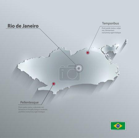 Brazil Rio de Janeiro City map flag glass card paper 3D vector
