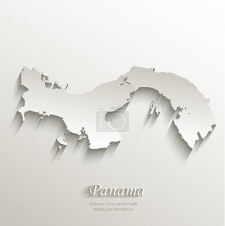 Panama map card paper 3D natural vector