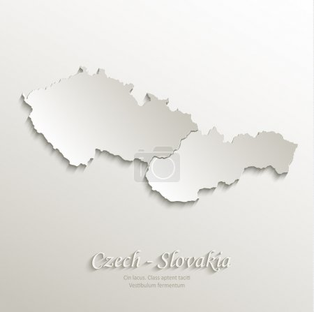 Czech Slovakia map card paper 3D natural vector Czechoslovakia separate maps