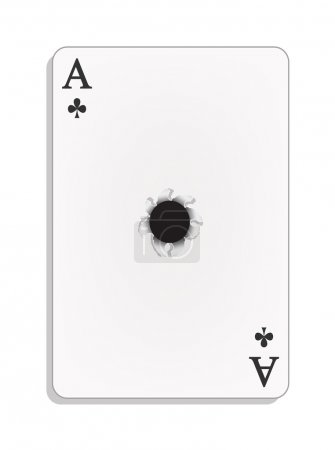 Ace of clubs with bullet hole