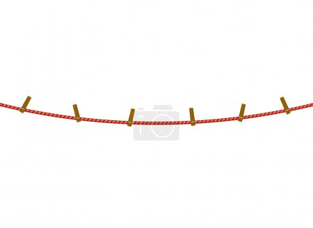 Clothespins on red rope