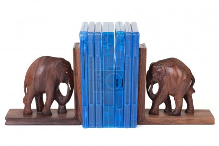 Elephant bookend with blu ray box over white...