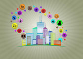 Illustration of colorful urban city with multimedia icon