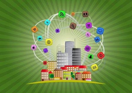 Illustration pour Illustration de ville urbaine colorée avec icône multimédia - image libre de droit