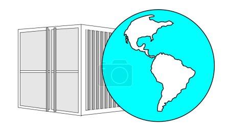 Illustration pour Illustration d'un conteneur de 40 pieds en métal avec globe terrestre bleu clair - image libre de droit