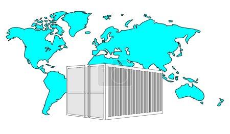 Illustration pour Illustration d'un conteneur de 40 pieds en métal avec carte du monde bleu clair - image libre de droit