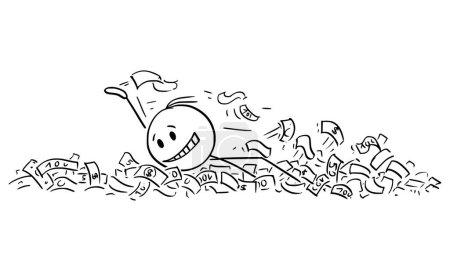 Vektor-Cartoon-Illustration von Mann oder Geschäftsmann beim Schwimmen im Wasser, Ozean, Meer, See oder Fluss der Dollar-Banknote oder Geld oder Bargeld