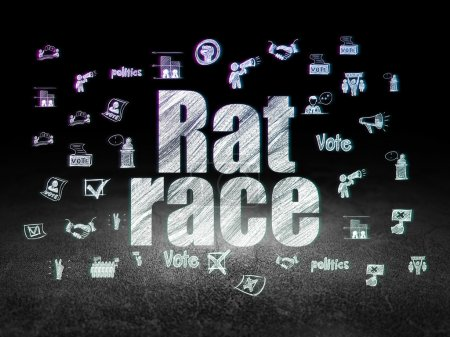 Politics concept: Rat Race in grunge dark room