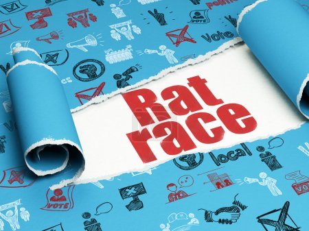 Politics concept: red text Rat Race under the piece of  torn paper