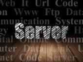 Web development concept: Server in grunge dark room