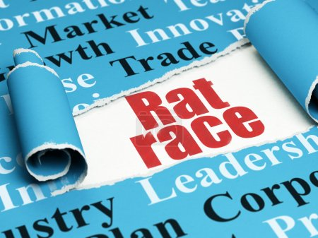 Business concept: red text Rat Race under the piece of  torn paper