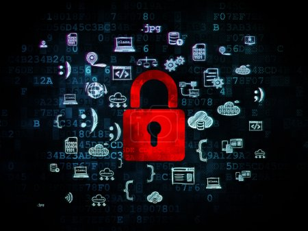 Photo pour Safety concept: Pixelated red Closed Padlock icon on Digital background with  Hand Drawn Programming Icons, 3d render - image libre de droit