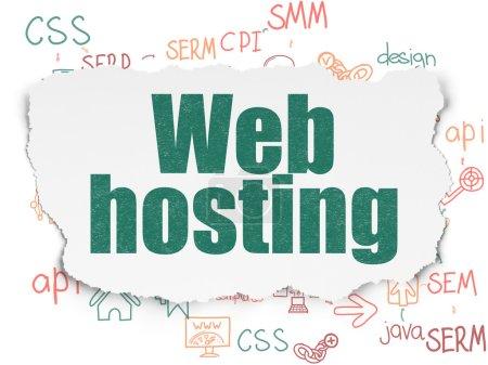 Web design concept: Web Hosting on Torn Paper background