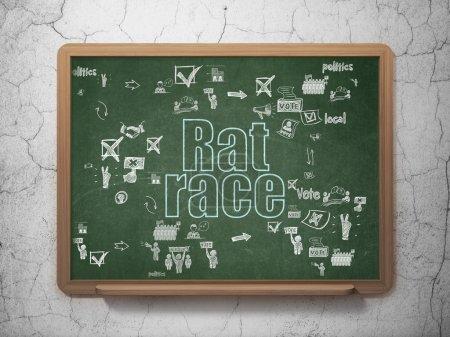 Politics concept: Rat Race on School Board background