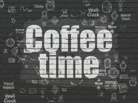 Photo pour Concept Timeline : Texte peint en blanc Temps de café sur fond mural en brique noire avec schéma de dessin à la main Icônes de temps - image libre de droit