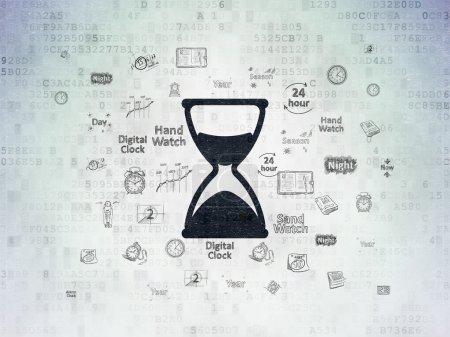 Photo pour Concept de temps : icône en sablier noir peint sur fond de papier numérique avec des icônes de temps de dessin à la main - image libre de droit