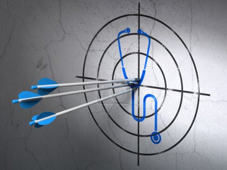 Healthcare concept: arrows in Stethoscope target on wall background