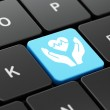 Insurance concept: computer keyboard with Heart An...