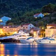 Luxury yachts in Town of Vis waterfront evening view, Dalmatia, Croatia