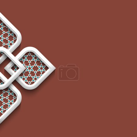 3d white ornament in arabic style