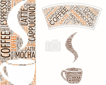Illustration for Coffee cup made of words,food sign - Royalty Free Image