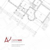 Architectural vector background Gray building plan silhouette and A-letter logo architecture and design company
