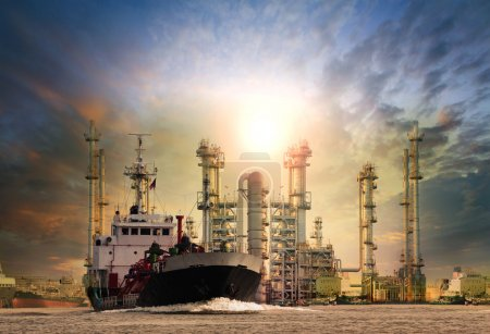 Gas tanker ship and oil refinery plant background use for oil ,f