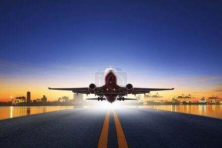 cargo plane take off from airport runways against ship port back