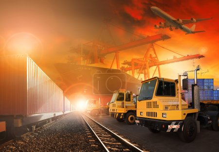 trains and truck of land logistic and ship in port cargo plane f