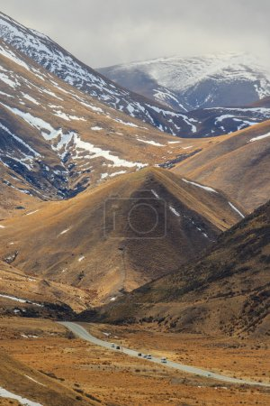 highway pass alpine mountain in waitaki district  south island n