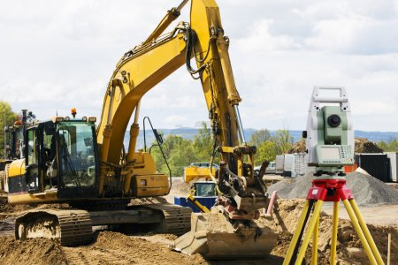 Photo for Construction site and work machines and workers at the project area - Royalty Free Image