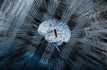 Photo for Artificial intelligence, a human brain communicating through resistors and micro-chips - Royalty Free Image