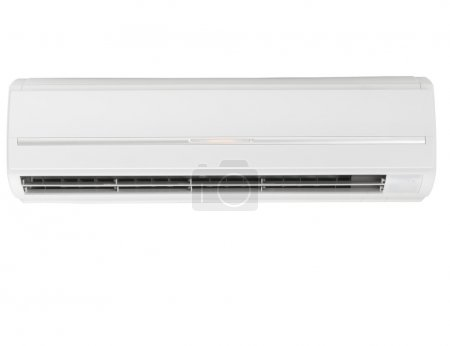 Photo pour Type de paroi du climatiseur blanc Split-system isolé sur fond blanc - image libre de droit