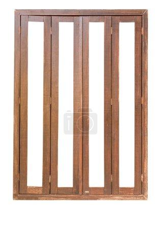 Photo pour Fermer Bois Les portes pliantes isolent sur fond blanc - image libre de droit
