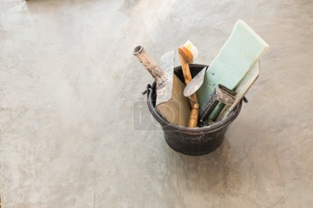 Close up construction tools for concrete job in bl...