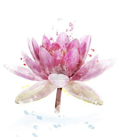 Photo pour Aquarelle numérique de fleur de nénuphar rose - image libre de droit