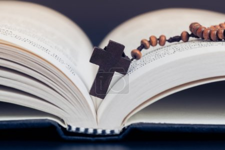 Christian cross necklace on Holy Bible book, Jesus...