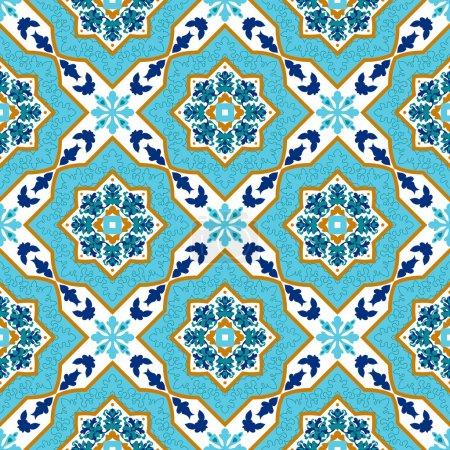 Illustration for Portuguese azulejo. White and blue. Tile Seamless patterns Mayolika. - Royalty Free Image