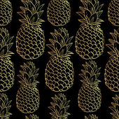 Exotic seamless pattern with silhouettes tropical fruit pineapples