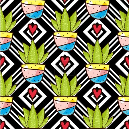 Illustration for Trend of cactus patterns. Bright seamless patterns for fabrics, prints, scrapbooking, smart phones, wallpaper - Royalty Free Image