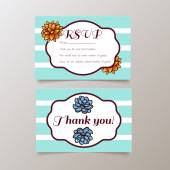 Wedding RSVP and Thank youTrend cards with succulents and striped background Stylish and fashionable design template invitations Central white copy space for your text