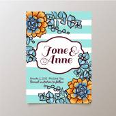 Wedding Save The dateTrend cards with succulents and striped background Stylish and fashionable design template invitations Central white copy space for your text