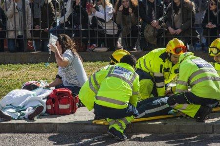 Health emergencies working on an incident in Talavera de la Reina, Toledo, Spain