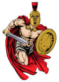 An illustration of a warrior character or sports mascot  in a trojan or Spartan style helmet holding a sword and shiel