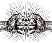 Fists punching illustration