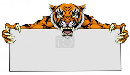 A cartoon mean tiger sports mascot holding a large...