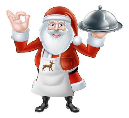Illustration pour Une illustration si un chef de bande dessinée Père Noël ou cuisinier personnage portant un tablier tenant une assiette ou un plateau de nourriture - image libre de droit