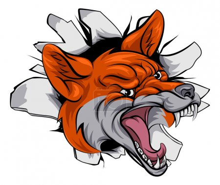 Fox sports mascot smashing through