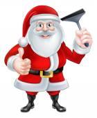 Cartoon Santa Holding a Squeegee