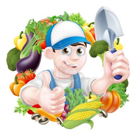 Vegetable Gardener Cartoon